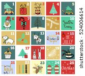 christmas advent calendar. hand ... | Shutterstock .eps vector #524006614