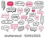 set of cute speech bubble with... | Shutterstock . vector #524012023