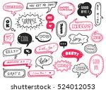 set of cute speech bubble with... | Shutterstock . vector #524012053