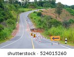 damaged road with caution... | Shutterstock . vector #524015260