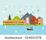 poland famous landmarks...   Shutterstock .eps vector #524021578