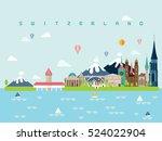 switzerland famous landmarks... | Shutterstock .eps vector #524022904