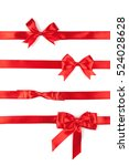 set of red ribbon satin bows... | Shutterstock . vector #524028628