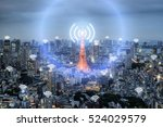 wifi icon and tokyo city with... | Shutterstock . vector #524029579
