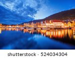 bergen street at night with... | Shutterstock . vector #524034304