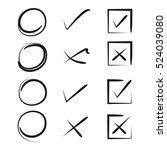 hand drawn circles  check marks | Shutterstock .eps vector #524039080