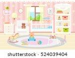 Baby Room Interior. Flat Desig...