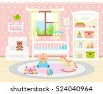 baby room interior. flat design.... | Shutterstock .eps vector #524040964