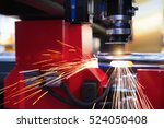 cutting of sheet metal. sparks... | Shutterstock . vector #524050408