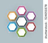 vector molecule with 3d paper... | Shutterstock .eps vector #524053378