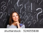 young girl with question mark... | Shutterstock . vector #524055838