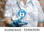 doctor presses unlock lock... | Shutterstock . vector #524065030