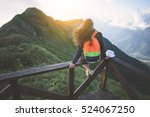 young traveling woman with... | Shutterstock . vector #524067250