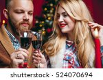 beautiful couple in a decorated ... | Shutterstock . vector #524070694
