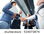 business people shaking hands ... | Shutterstock . vector #524073874