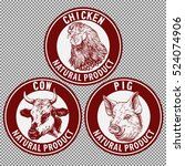 animals set  cow  pig  chicken... | Shutterstock .eps vector #524074906