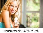 young beautiful smiling woman... | Shutterstock . vector #524075698