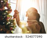 merry christmas and happy... | Shutterstock . vector #524077390