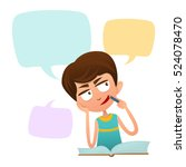 cute boy clever thought. the... | Shutterstock .eps vector #524078470