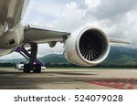 turbine of engine airplane in... | Shutterstock . vector #524079028