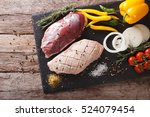 duck breast raw  with fresh... | Shutterstock . vector #524079454