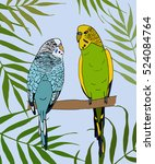 green and blue birds in leaves. ... | Shutterstock .eps vector #524084764