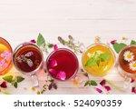 herbal tea on a white wooden... | Shutterstock . vector #524090359