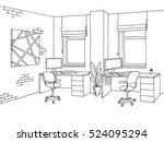 office graphic art black white... | Shutterstock .eps vector #524095294