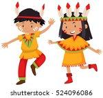 boy and girl in native american ... | Shutterstock .eps vector #524096086