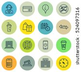 set of 16 airport icons. can be ... | Shutterstock .eps vector #524097316