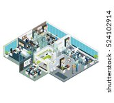 Set Room Office Isometric With...
