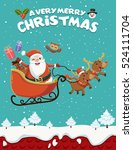 vintage christmas poster design ... | Shutterstock .eps vector #524111704