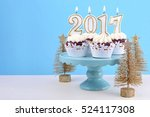 happy new year cupcakes with... | Shutterstock . vector #524117308