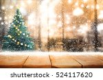 empty wood table top with... | Shutterstock . vector #524117620