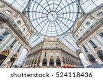 glass dome of galleria vittorio ... | Shutterstock . vector #524118436