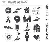 big set of symbols of charity ...   Shutterstock .eps vector #524118586