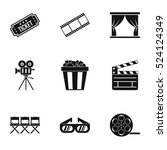 cinema icons set. simple... | Shutterstock .eps vector #524124349