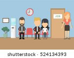 waiting for a job. people seat...   Shutterstock .eps vector #524134393