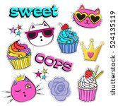 sketch comics set of stickers... | Shutterstock .eps vector #524135119
