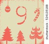 christmas advent calendar set.... | Shutterstock .eps vector #524135188