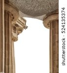 Small photo of Isolated on white. Doric columns of Hypostyle Room support lower court central terrace. Park Guell in Barcelona.