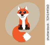 fox cartoon flat cute card on... | Shutterstock .eps vector #524144560