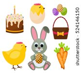 easter big flat style icons set ... | Shutterstock .eps vector #524146150