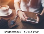close up of smartphone in woman'... | Shutterstock . vector #524151934