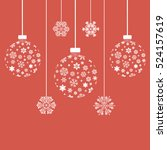 christmas snowflakes and balls. ... | Shutterstock .eps vector #524157619