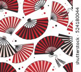 collection of fans seamless...   Shutterstock .eps vector #524180044