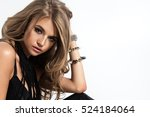 an attractive lady in black...   Shutterstock . vector #524184064