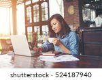 beautiful hipster woman using... | Shutterstock . vector #524187940