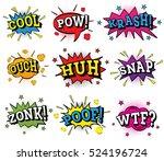 set of comic text in pop art... | Shutterstock .eps vector #524196724
