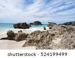 deserted beach with pink sand... | Shutterstock . vector #524199499